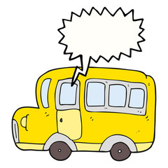 speech bubble cartoon yellow school bus