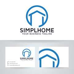 simple home vector logo with business card template