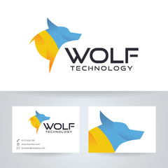 Wolf technology vector logo with business card template