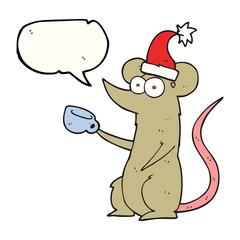 speech bubble cartoon mouse wearing christmas hat