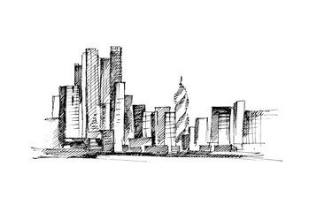 Cityscape hand drawn vector illustration.