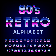 80's retro alphabet vector font. Metallic effect shiny letters and numbers. Vector typography for flyers, headlines, posters etc.