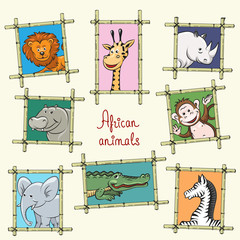 African animals in a wooden frames