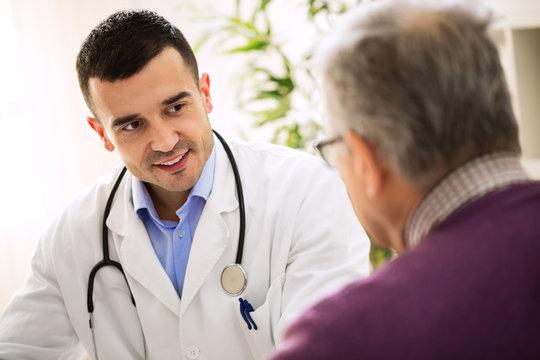 Old man visit doctor, patient care
