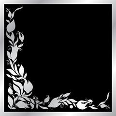 Greeting silver frame elements for design.
