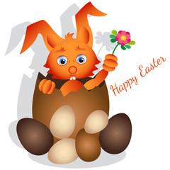 Coniglietto con Uova di Pasqua e Testo di Auguri