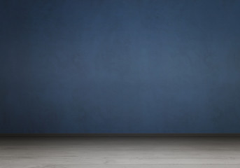 Empty interior for design, poster or text on free space. Blue wall and gray wooden floor.