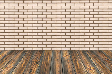Empty table and white brick wall background, product display tem