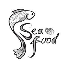 Seafood restraunt background. Fish label. Sea food menu sign.