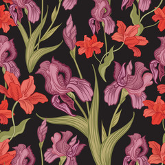 Floral pattern. Flower seamless background.
