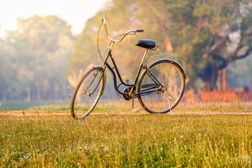 Landscape picture Vintage Bicycle with Summer grass field at sunset ; vintage filter style, Classic bicycle