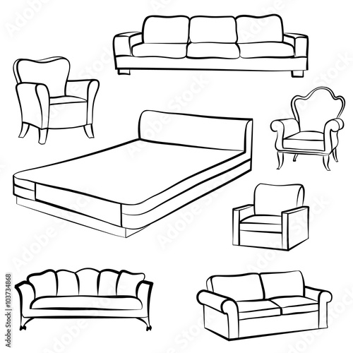 Furniture Set Interior Detail Outline Collection Bed Sofa Settee