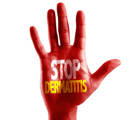 Stop Dermatitis written on hand isolated on white background