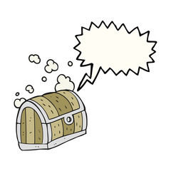 speech bubble cartoon treasure chest