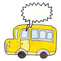 speech bubble textured cartoon yellow school bus
