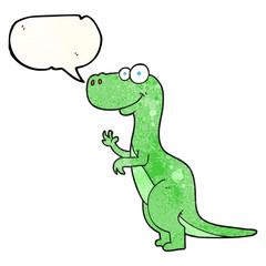 speech bubble textured cartoon dinosaur