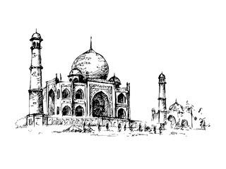 Taj Mahal, India. Vector hand drawn illustration. Fototapete