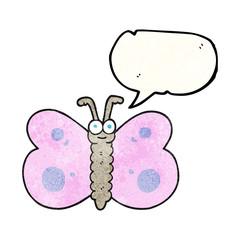 speech bubble textured cartoon butterfly