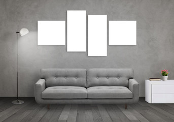 Isolated wall art canvas on gray wall. Living room interior with sofa, lamp, cabinet.