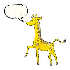 speech bubble textured cartoon giraffe