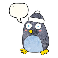 speech bubble textured cartoon penguin