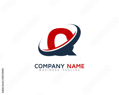 quotletter q swoosh ring logo design templatequot stock image