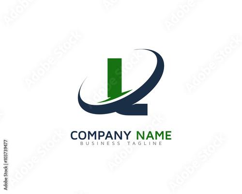 Letter L Swoosh Ring Logo Design Template