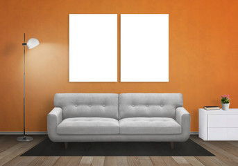 Isolated wall art canvas on orange wall. Living room interior with sofa, lamp, cabinet.
