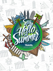 Icons sights of the world around  the globe. Seamless background with a pattern tourist attractions icons. Topic Travel,Tourism landmarks over the world. Sign Hello Summer