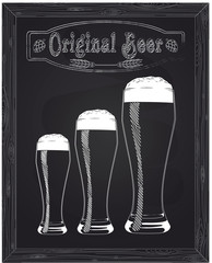 Three sizes of beer glasses