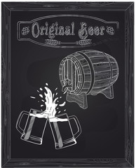 wooden barrel and two mugs of beer with foam and spray