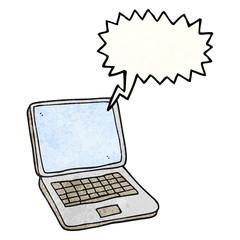 speech bubble textured cartoon laptop computer