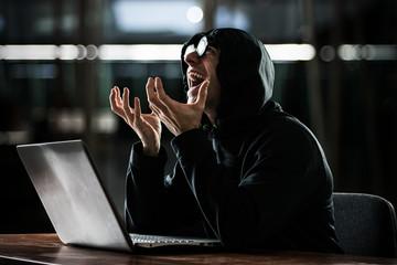 Nerd in front of his computer