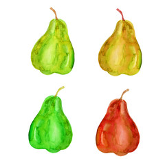 Set of watercolor pear isolated on white background, hand drawn illustration
