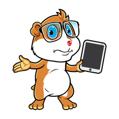 Hamster Geek Holding Tablet Confuse.