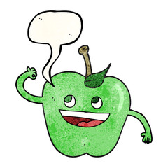 speech bubble textured cartoon apple