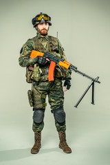 Special force soldier with a rifle