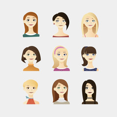 Cute vector illustrations set of beautiful young girls with different hairstyle, make up and dresses.