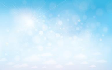 Vector sunshine blue sky background.
