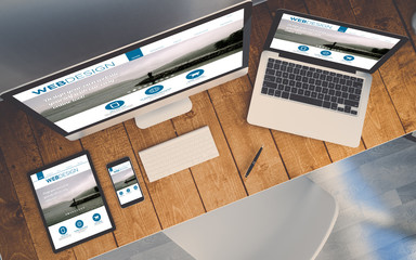 Wall Mural - top view workplace with devices showing responsive order online