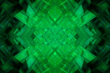 Abstract green fractal background with various color lines