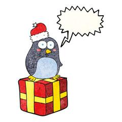 speech bubble textured cartoon christmas penguin