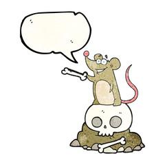 speech bubble textured cartoon graveyard rat