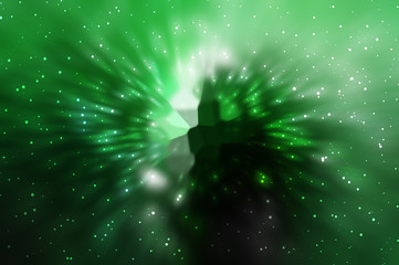Abstract green fractal composition. Magic explosion star