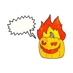 speech bubble textured cartoon flaming halloween pumpkin