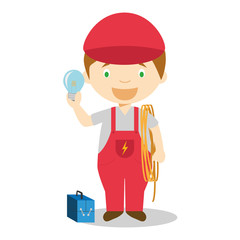 Cute cartoon vector illustration of an electrician