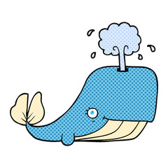 cartoon whale spouting water