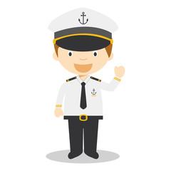 Cute cartoon vector illustration of a sailor