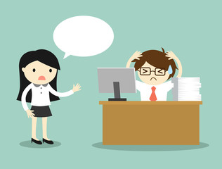 Business concept, business woman complains about businessman's work. Vector illustration.