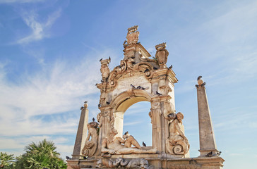 The Fontana del Sebeto , monumental fountain in  Mergellina ,coastal section of Naples, Italy.